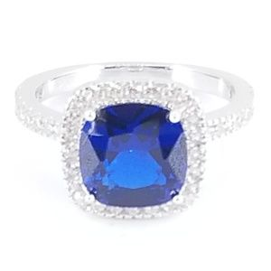 Jewelry - Sterling Silver Blue Sapphire & CZ Halo Ring